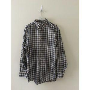 Jos. A. Bank Traveler's Plaid Button Down Shirt M